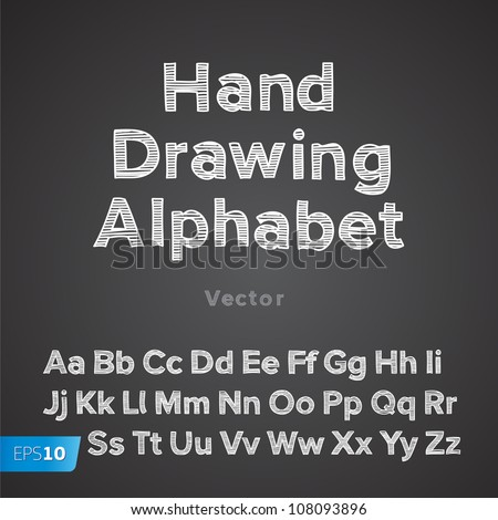 Hand drawing chalk font, vector Eps10 illustration. - stock vector