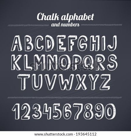 Hand drawing chalk latin alphabet - stock vector