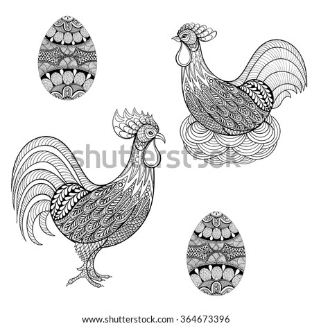 chicken coloring pages for adults - monochrome mandala stock vectors vector clip art