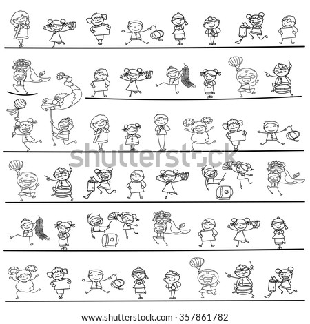 hand drawing Chinese New Year cartoon character happy people