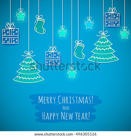 Hand drawing Christmas greeting card. Vector illustration.