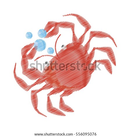 hand drawing crab sealife crustacean food bubbles vector illustration eps 10