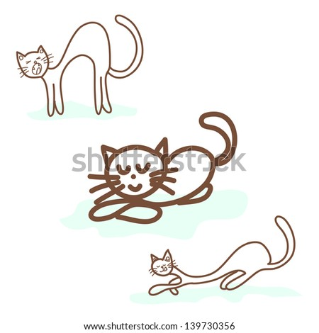 hand drawing cute doodle cats - stock vector