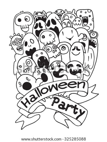 Hand Drawing Cute Ghost Design Party Stock Vector 325285088 ...