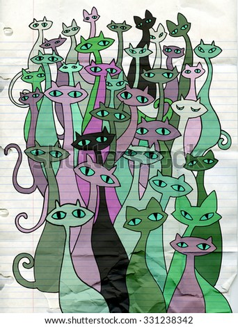 Hand drawing doodle cats evil group,Flat Design Vector illustration.