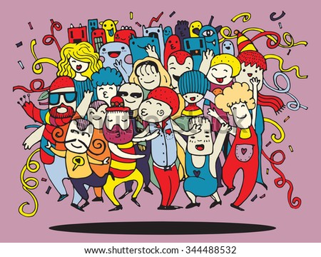 Hand drawing Doodle Vector Illustration of Funny party people ,Flat Design