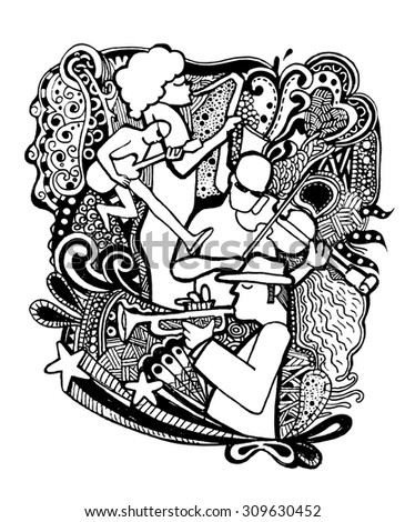 Hand drawing Doodles musicians with ornamental.Doodle pen drawn background. Vector illustration