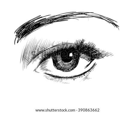 Hand drawing eye on a white background. Vector illustration - stock vector