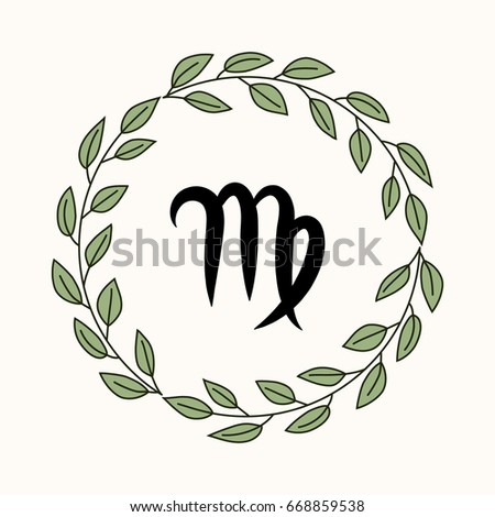 Hand Drawing Flat Virgo Symbol In Rustic Floral Wreath