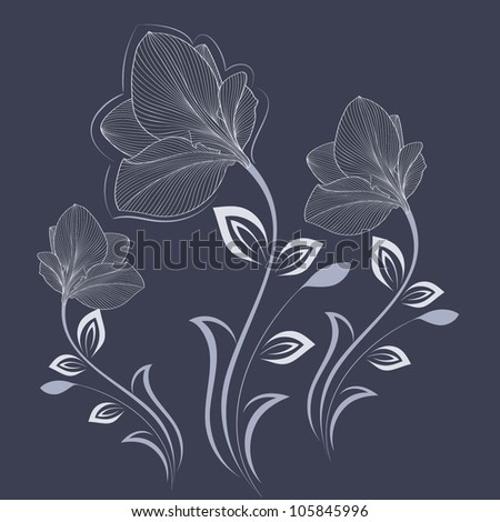 Hand-drawing floral background with flower amaryllis. Element for design. Vector illustration. - stock vector