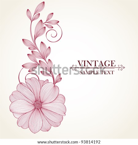 Hand-drawing floral background with flower dahlia. Element for design. Vector illustration. - stock vector