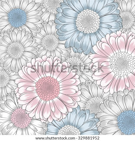Hand-drawing floral background with flower gerbera. Element for design. Vector illustration. - stock vector