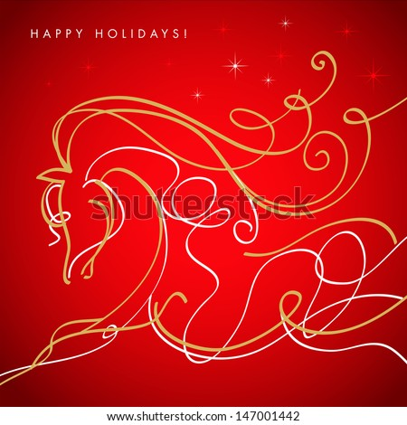 Hand drawing free style sketch of horse, symbol of new year. Vector EPS 10 illustration.   - stock vector