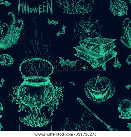 Hand drawing green color on a white background, vector illustration, pattern Halloween. Pumpkin, magical cauldron, broom, bats, books, spiders, magic ball, fern, spider webs. - stock vector