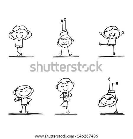 hand drawing happy kid playing - stock vector