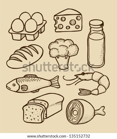 hand drawing iliustration with food - stock vector