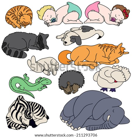 Hand drawing illustration of pets and animals with little children. Vector clip-art. - stock vector