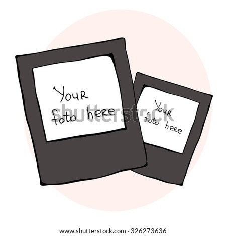 hand drawing illustration of two retro photo frames, vector - stock vector