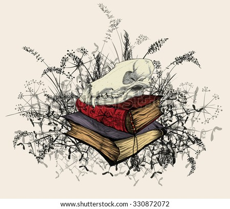Hand drawing of a skull of the beast in the occult books, surrounded by a field of grass. - stock vector