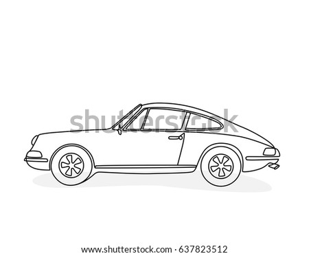 Stock Vector Hand Drawing Of A Sports Car In The Side View on Wiring Diagram Suzuki Tc100