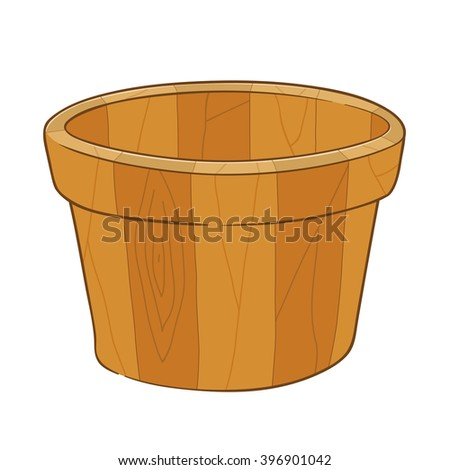 Hand drawing of an empty wooden bucket, vector illustration - stock vector