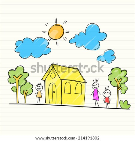 Hand Drawing of house and children - stock vector