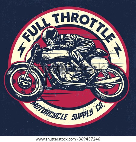 hand drawing of man riding a classic cafe racer motorcycle, texture is easy to remove - stock vector