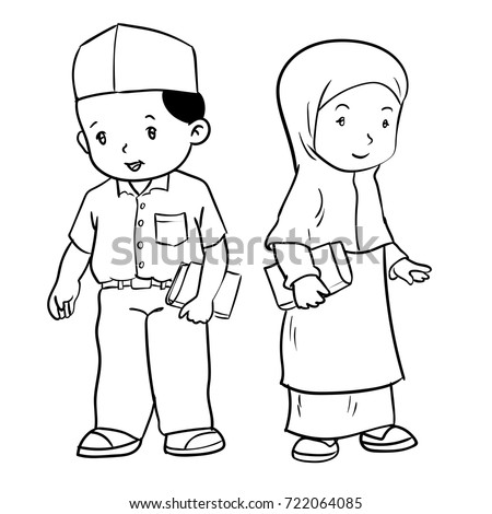 Hand Drawing Muslim Kids Standing Isolated Stock Vector ...