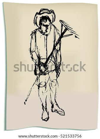 Hand drawing of peasant with a raker