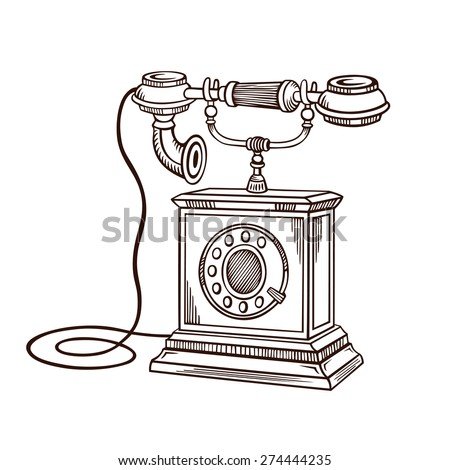 Hand Drawing Old Phone Retro Telephone Vintage Antique