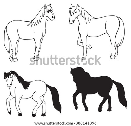 hand drawing on white background animals horse and silhouette
