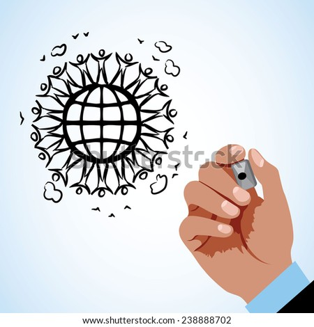 Hand drawing people with globe - stock vector