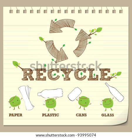 hand drawing recycle symbol with recycle bean on note paper - stock vector