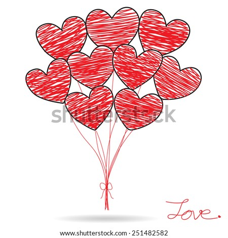 Hand Drawing Red Heart Balloons on white Background, Valentines Day Card, Vector Illustration EPS 10. - stock vector