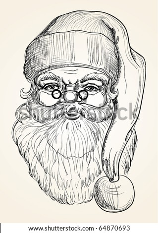 Hand drawing Santa Claus - stock vector