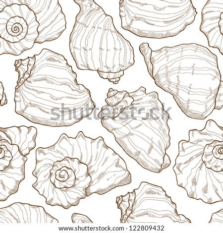 Hand drawing seashell seamless on white background - stock vector