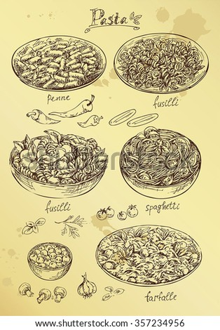 hand drawing set of pasta