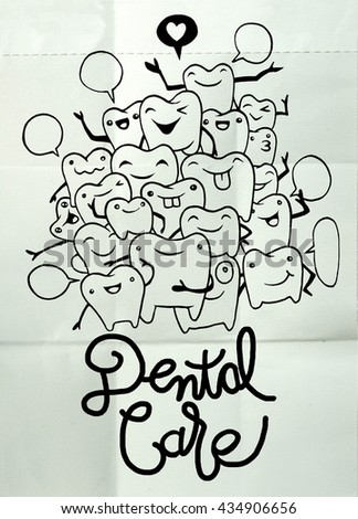 Hand drawing Set of small funny teeth characters scenes,vector illustration