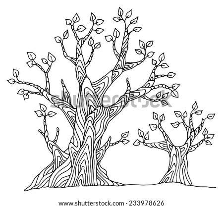 Hand drawing sketch of tree