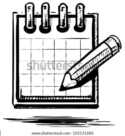 Hand drawing sketch vector illustration of organizer or planner with pencil - stock vector