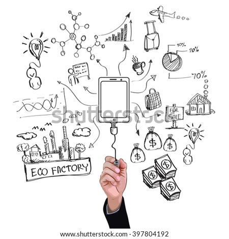 Hand drawing Social Media with technology connection lifestyle illustration vector - stock vector