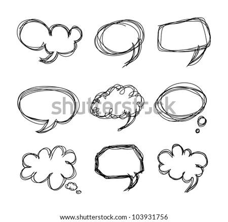 Hand drawing speech bubbles cartoon doodle - Vector - stock vector