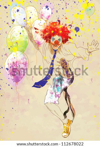 hand drawing using digital tablet (this is drawing converted into vector) - happy clown - stock vector