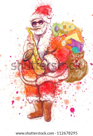 hand drawing using digital tablet (this is drawing converted into vector, resolution at 300 dpi, A4 international size) - - colored sketch bearded Santa Claus playing the saxophone
