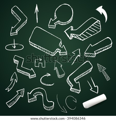 Hand drawing vector arrow collection, doodle illustration on chalkboard with chalk - stock vector