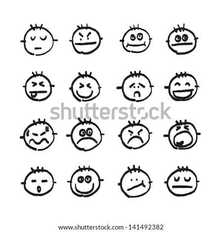 hand drawing vector emotion icon - stock vector