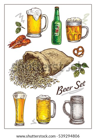 hand drawing vector  illustration with   beer  set