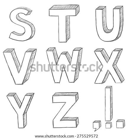 Hand Drawing Vector Letters Alphabet Sketch Illustration