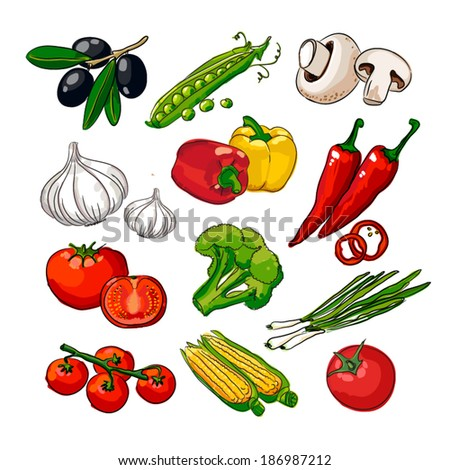 Hand drawing vegetables set - stock vector