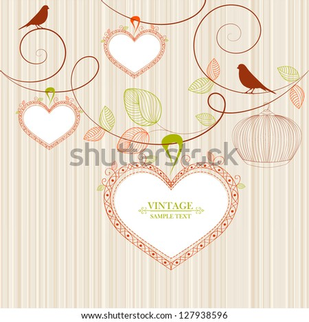 Hand-drawing vintage floral background with flower buds, bird and frames in shape of heart. Element for design. - stock vector